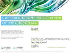 Certyfikat Autodesk ATC 2019 - szkolenia Autodesk
