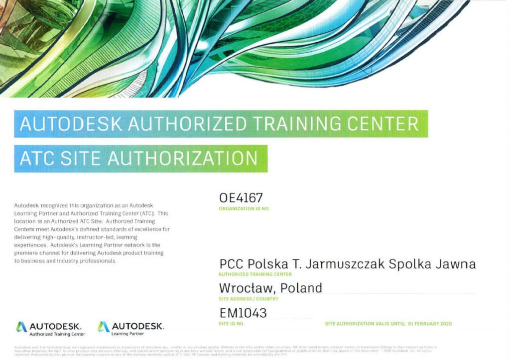Certyfikat Autodesk ATC 2019 - szkolenia CAD i 3D