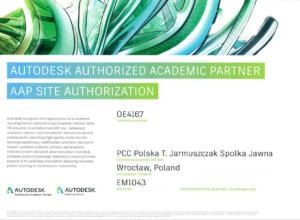 Certyfikat Autodesk Academic Partner 2019 - szkolenia dla studentów