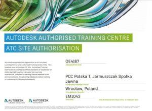 Certyfikat Autodesk Autoryzowane Centrum Szkoleniowe PCC Polska
